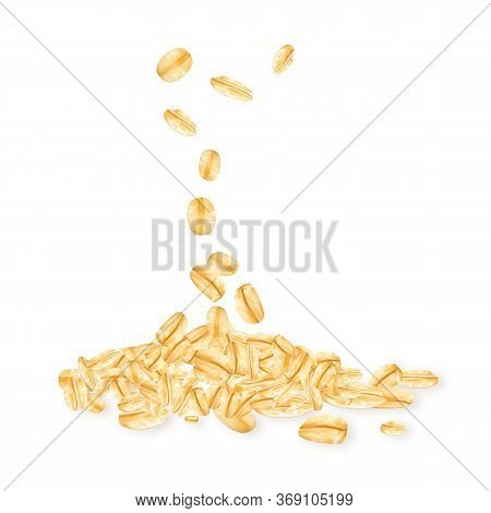 Oatmeal Falling Agriculture Cereal Granules Vector. Natural Oatmeal Food Heap. Agricultural Eco Clea