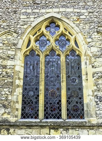 Chichester, West Sussex, Uk - July 14: Stained Glass Window At Chichester Cathedral, Formally Known
