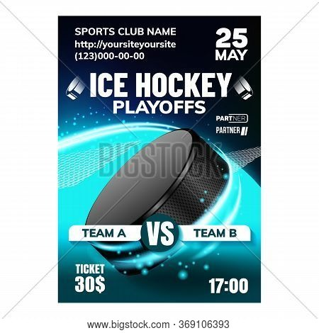 Hockey Ice Rink Sport Event Flyer Banner Vector. Hockey Puck And Stick Athletic Equipment On Sportiv