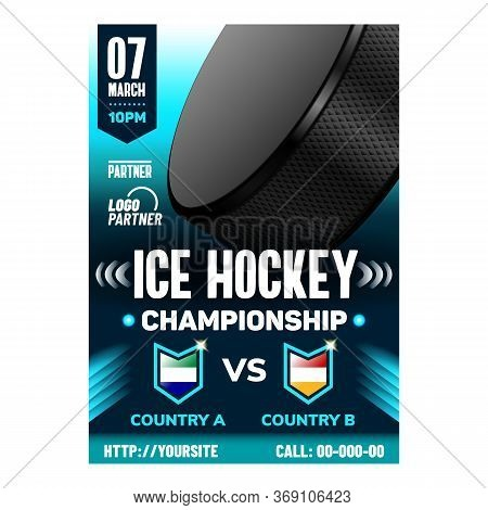 Hockey Ice Rink Extremal Sport Flyer Poster Vector. Puck And Hockey Stick, Skates And Protective Hel