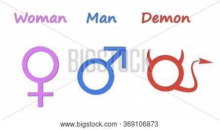 Gender Symbols. Humorous Depiction Of The Symbols Of A Man Woman And Demon