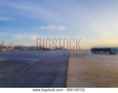Abstract blur airplane at airport
