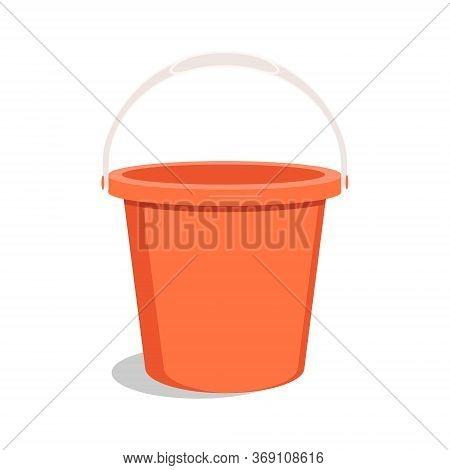 Empty Red Bucket. Bucket For Garden. Vector
