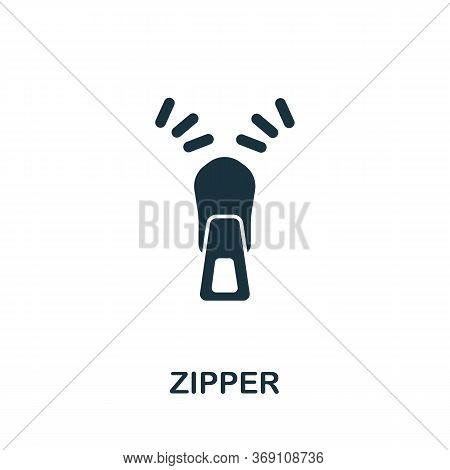 Zipper Icon. Simple Illustration From Sewing Equipment Collection. Creative Zipper Icon For Web Desi