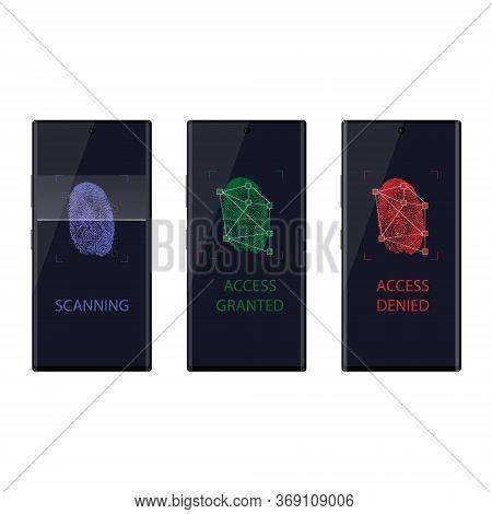 Scanning Fingerprint On Smartphone. Unlock Mobile Phone. Access Denied, Granted, Scanning