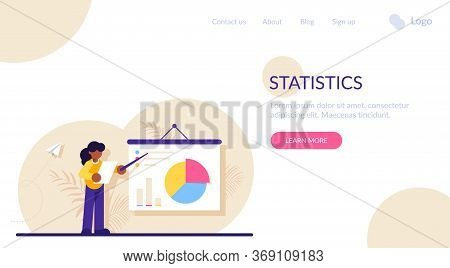 Concept Of Business Statistics, Financial Data Demonstration, Statistical Research. Businesswoman, M