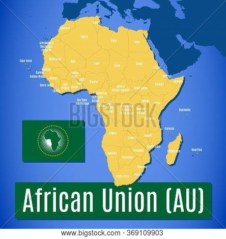 Schematic Vector Map And Flag Of The African Union (au).