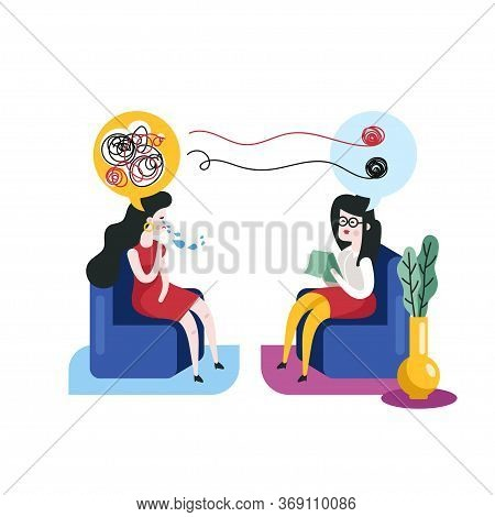 Psychotherapy Concept. Woman At A Psychotherapy Session With A Psychotherapist Vector Illustration.
