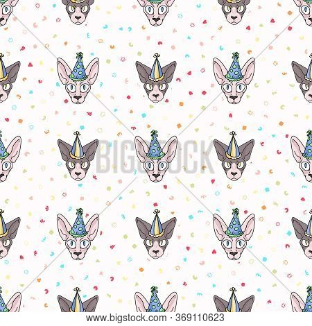 Cute Cartoon Sphynx Cat And Kitten Face With Party Hat Seamless Vector Pattern. Pedigree Exotic Kitt