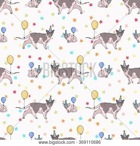 Cute Cartoon Sphynx Cat And Kitten With Party Hat Seamless Vector Pattern. Pedigree Exotic Kitty Bre