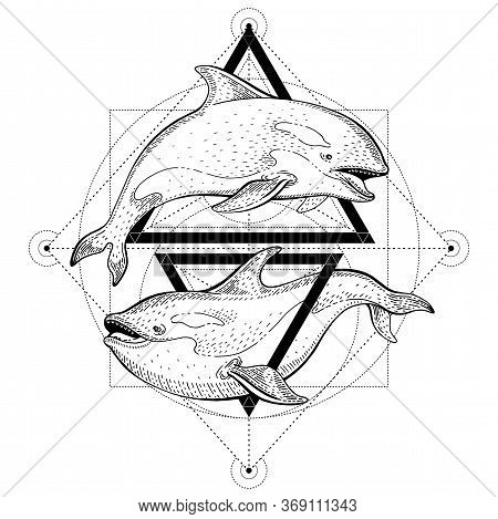 Killer Whale Orca Tattoo. Geometric Vector Illustration With Triangles And Sea Animals. Sketch Logo