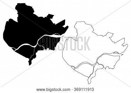 Palembang City (republic Of Indonesia, Sumatra Island) Map Vector Illustration, Scribble Sketch City