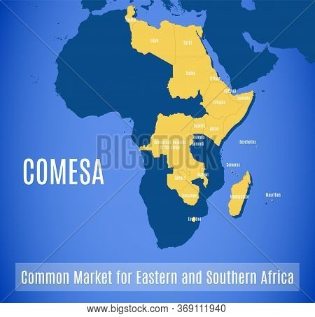 Vector Map Of The Common Market For Eastern And Southern Africa (comesa).