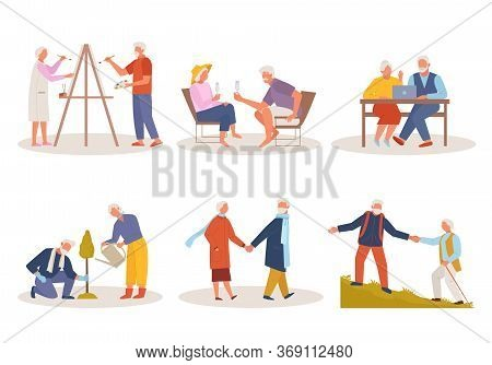 Active Life Old People. Elderly Man Woman Draw, Relax At Resort In Glasses, Sit At Laptop, Plant Tre
