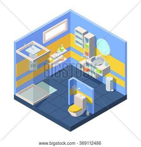 Bathroom Isometric Illustration. Compact Bathroom Concept Closed Shower Toilet Behind Partition, Cor