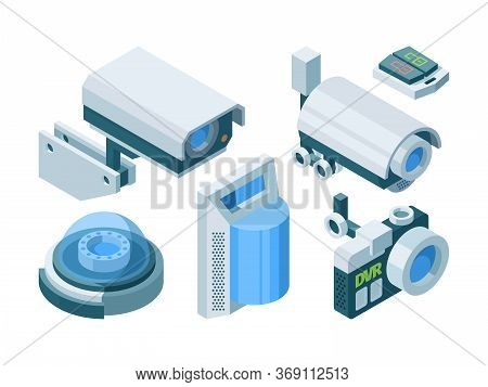 Security Camera Smart Isometric Set. Electronic Modern Security Home Office Switch Lock Street Dome