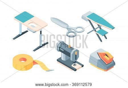 Tailor Accessories Isometric Set. Equipment Sewing Fashionable Stylish Clothes Ironing Board Cutting