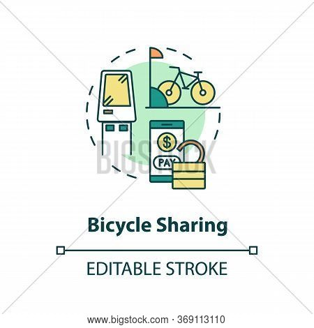 Bicycle Sharing Concept Icon. Bike For Rent. Eco Friendly Urban Transit. Rental For Public Transport