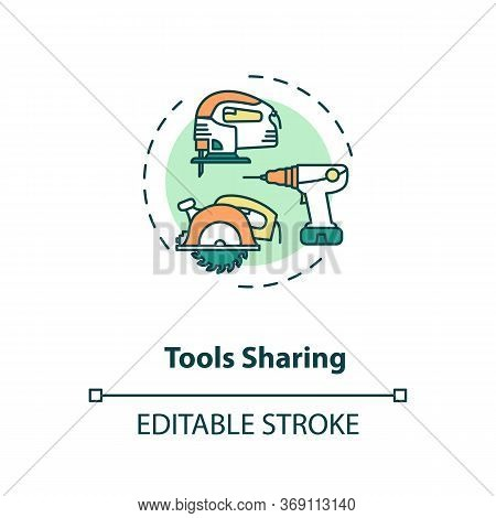 Tools Sharing Concept Icon. Variety Of Instruments For Building. Collaborative Work On Engineering P
