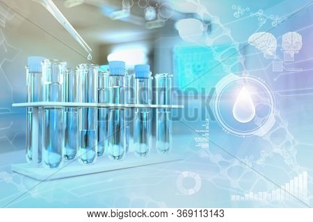 Lab Test-tubes In Modern Scientific University Clinic - Drinking Water Quality Test For Bacteria Des