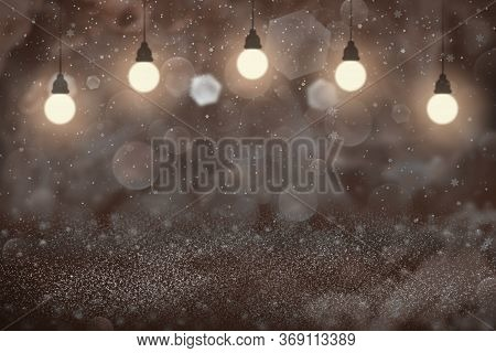 Red Nice Brilliant Abstract Background Glitter Lights With Light Bulbs And Falling Snow Flakes Fly D