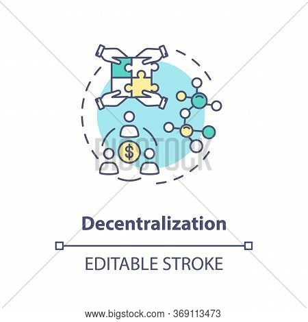 Decentralization Concept Icon. Business Model Of Sharing Economy. Blockchain System. Collaborative C
