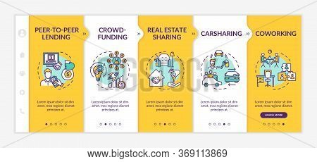 Sharing Economy Onboarding Vector Template. Collaborative Consumption, Innovative Business Models. R