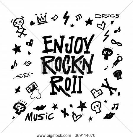 Simbols, Words And Design Elements On White Background. Rock'n'roll Graphic Set. Vector Illustration