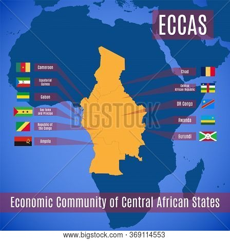 Map And Flags Member States Of The Economic Community Of Central African States (eccas).