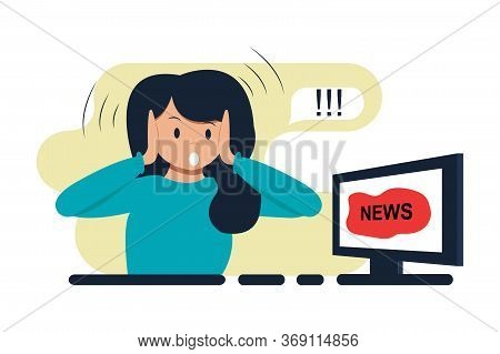 Woman Watching News On Tv, Computer. Shock Content, Fake News, Lies Or Gossip On Television. Emotion