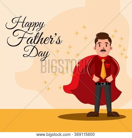Super Daddy Concept, Super Father. Happy Father's Day Greeting Vector Illustration