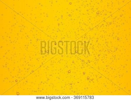 Lager Beer With Bubbles Vector Background. Cold Carbonated Drink, Sparkling Lemonade.