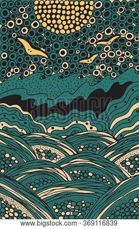 Seascape Doodle Illustration. Trippy Colorful Landscape Artwork. Psychedelic Doodle Line Art. Seagul