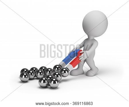 3d Man Pulls A Bunch Of Balls With A Magnet. 3d Image. White Background.