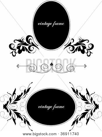 Decorative oval frames with  branches - element for design