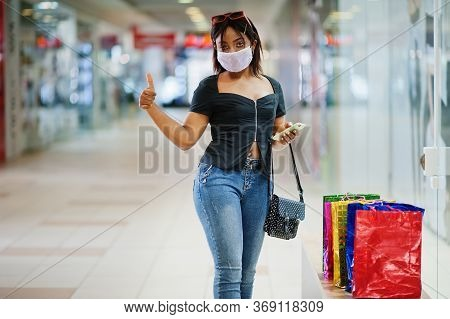 African American Woman Wearing Face Protective Medical Mask For Protection From Virus Disease With M