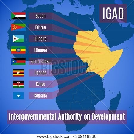 Member Countries Of The Intergovernmental Authority On Development. Vector Map And Flags Of Members