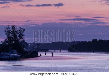 Waterway - Navigation Lights On The River