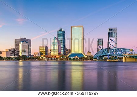 Jacksonville, Florida, USA skyline on the river at twilight.