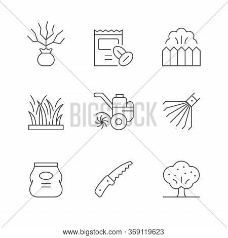 Set Line Icons Of Gardening Isolated On White. Seedling, Seed, Fence, Grass, Tiller, Rake, Fertilize