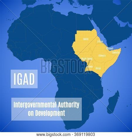 Member Countries Of The Intergovernmental Authority On Development. Vector Map Of Members Of The Iga