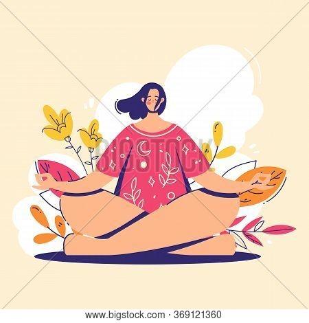 Yoga Girl. Meditation Concept. Lotus Pose - Padmasana. Woman Relax And Chill.