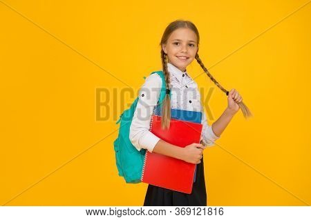 Private Schooling. Teen With Backpack. Cute Smiling Schoolgirl. Girl Little Schoolgirl Carry Backpac