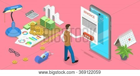 3d Isometric Flat Vector Concept Of Mobile Invoice, Online Payment.