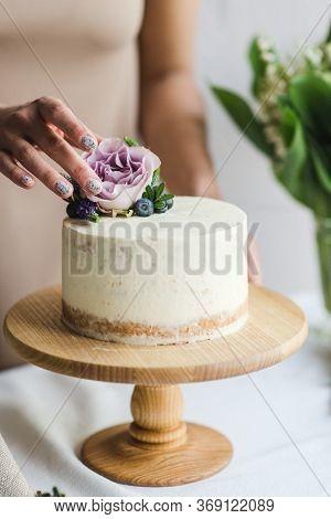 Naked Wedding Birthday Cake. Rustic Layer Homemade Cake With Cream. Dessert Decorated With Chocolate