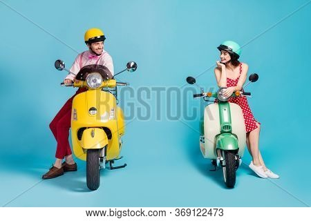 Portrait Of His He Her She Nice Attractive Cheerful Cheery Couple Sitting On Moped Wearing Retro Fes