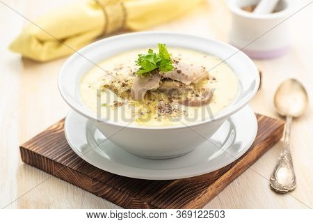 Thick Creamy Chicken Soup. Soup With An Egg. A Traditional Dish Of Georgian Cuisine. Close Up.