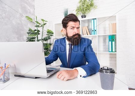 Build Up Your Network. Bearded Man Run Startup Business. Startup Project Manager At Office Desk. E-b