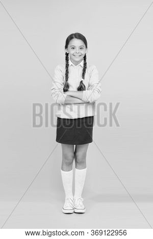 Efficiency Of Studying. Adorable Schoolgirl. Diligent Schoolgirl. Schoolgirl Happy Smiling Pupil Lon