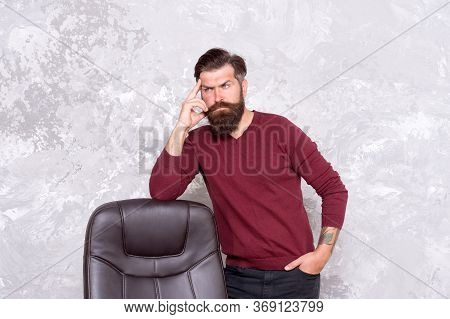 Dressing Smart And Fashionable. Fashionable Look Of Bearded Man. Serious Hipster Stand At Office Cha